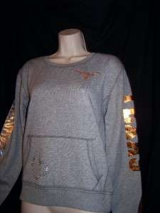 PINK TEXAS LONGHORNS BLINGED OUT SWEATSHIRT SMALL **RARE**