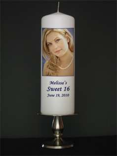 Personalized Custom Sweet Sixteen Candles from Goody Candles Photo