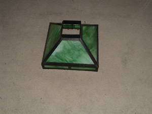 ANTIQUE SLAG GLASS LAMP SHADE GREEN GLASS STAINED