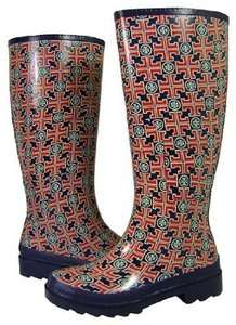 Tory Burch Logo print Navy Red Rain Boot Boots Rainboot Size 6 NEW
