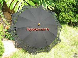 Handmade Battenburg lace cotton Black parasol umbrella