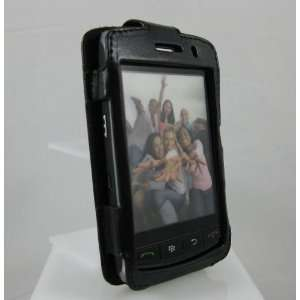 BLACK Full View Leather Cover Case for BlackBerry Storm (Thunder) 9500