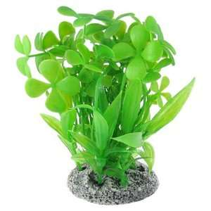 Green Plastic Four Leaf Clover Grass Fish Tank Ornament: Pet Supplies