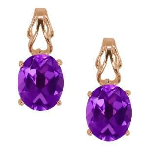 3.00 Ct Oval Purple Amethyst 14k Rose Gold Earrings Jewelry