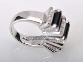 Asprey 18K White Gold Micro Pave Diamond Onyx Ring