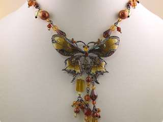 Topaz Color Crystal Butterfly Necklace Earrings s0301
