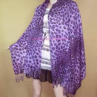 Leopard Prints Viscose Pashmina Scarf Shawl Purple