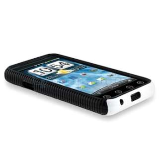 Black TPU Gel White Rubber Hard Hybrid Case Cover For Sprint HTC EVO