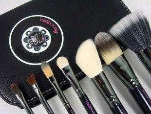 pcs Hello Kitty Makeup Brush Set Kit & Black Faux Leather Case