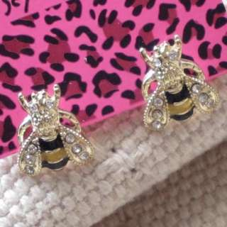 New Cute Betsey Johnson Gold Tone Rhinestone Enamel Bee Stud Earrings