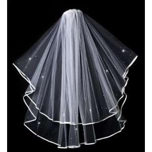 Wedding Veil Soft Tulle White Satin Ribbon Edge Crystal & Pearl Flower
