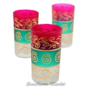 Moroccan Kiss Me Water or Tea Glasses Pink/Green/White