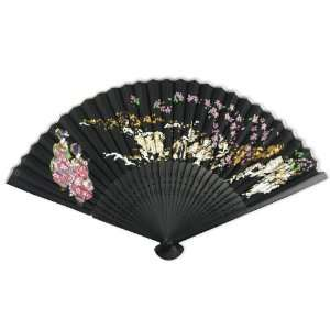 Painted Fabric   Perforated Black Tint Wood Hand Held Folding Fan