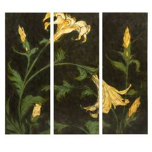 Set of 3 Large Botanical Lily Flower Wall Art Panels