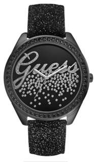 GUESS Watch, Womens Textured Black Leather Strap U96002L1 NEW