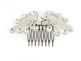 Burst Clear Bridal Crystal Rhinestone Head Piece Hair Comb