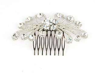 Burst Clear Bridal Crystal Rhinestone Head Piece Hair Comb