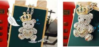 golden crown Austria crystals teddy bear pendant woman necklace