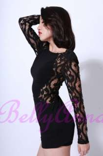 Vtg Punk Rock Sexy Cut Out Stretch Lace Bodycon Dress Cocktail Evening