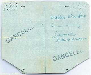KING EDWARD VIII (GREAT BRITAIN)   PASSPORT SIGNED