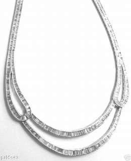 574 BAGUETTE cut DIAMOND WHITE GOLD NECKLACE 23 carat