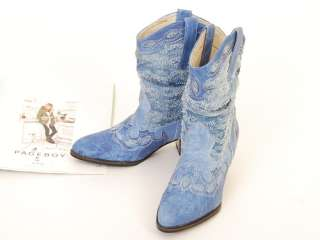 329038 Women Shoes Western Cowboy Style Heels Boots Blues US