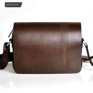 New Small Delicate Mens Brown Genuine Leather Shoulder Messenger Bag
