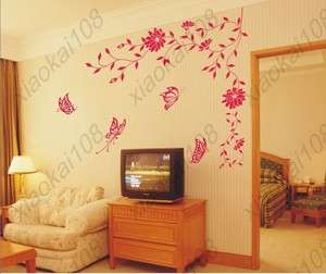 Wall Art Deco Decal Sticker Wall Paper butterfly and flower #05