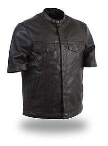 SOA Mens Anarchy 1/2 Sleeve Leather Shirt 2 Drop Pockets HD410 for