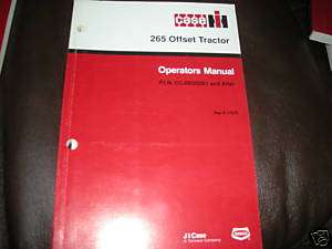 Case International 265 Offset Tractor Operators Manual