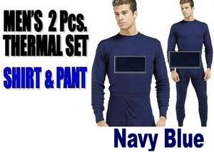 Mens THERMAL 2pc Waffle Knit SET NAVY BLUE LARGE Underwear Long John L