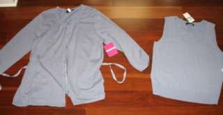 NEW Cable & Gauge Smoky Blue Twinset 2 Sweater Set SIZE XL
