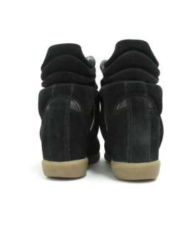 HOT ITEM* Isabel Marant Black Suede High Top Willow Wedge Sneakers 37