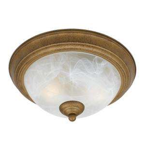 Illumine 2 Light Flush Mount White alabaster swirl glass Aged Gold
