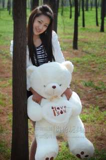 NEW GIANT HUGE PLUSH BEETLE LOVE HEART TEDDY BEAR 90CM WHITE GIFT