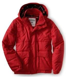 NWT Aeropostale Mens Aero NY87 Puffer Jacket Coat Parka Red Small