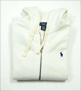 NWT Polo Ralph Lauren Mens Full Zip Hoodie Sweater Jacket White
