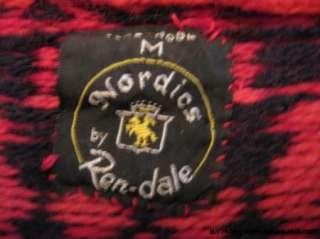 PURE WOOL SKI SWEATER NORDICS REN DALE NORWAY CARDIGAN RED BLACK WINE