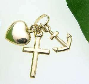 Glaube Liebe Hoffnung poliert echt 585 Gold Anker Herz Kreuz