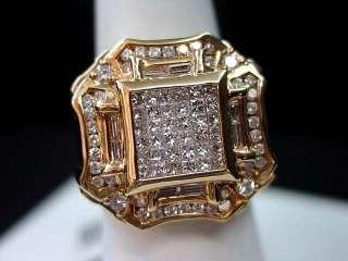 MENS DIAMOND RING 14K ROSE/PINK GOLD ROUND CUT PRINCESS