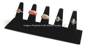 Black Velvet 5 Ring Showcase Jewelry Display Stand