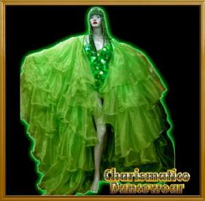 Christmas Green Organza cabaret Drag queen Ruffles Coat