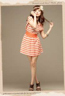 Simple Design Cap Sleeve Striped Mini Dress w/ Belt (2 colors)