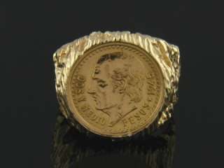 1945 DOS Y MEDIO PESOS COIN 14K GOLD BARK RING JEWELRY