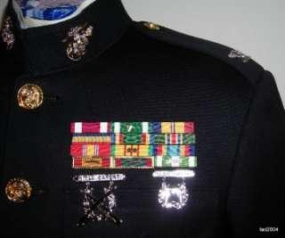 US Marine Corps Officer Uniform Dress Blue Ribbons Vietnam Trouser
