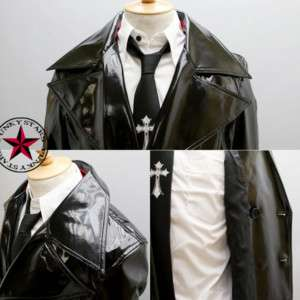 Japan Rock Goth Punk PVC Long Coat Jacket Pleather M