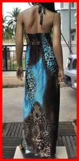 leopard Boho beach hawaiian halter smocked maxi long dress blue S M