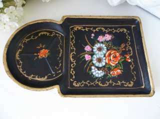Country Vintage Black Hand Painted Roses Paper Mache Tole Tray