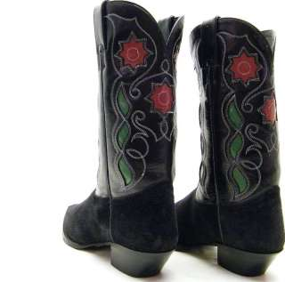 WOMENS TONY LAMA BLK GREEN RED ROSE FLOWER INLAY COWBOY WESTERN BOOTS