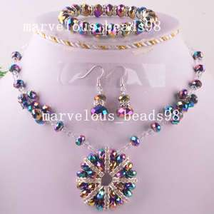 Colorful Crystal Necklace Bracelet Earring Cover H0261